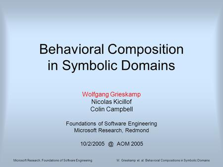 Microsoft Research, Foundations of Software EngineeringW. Grieskamp et. al: Behavioral Compositions in Symbolic Domains Behavioral Composition in Symbolic.