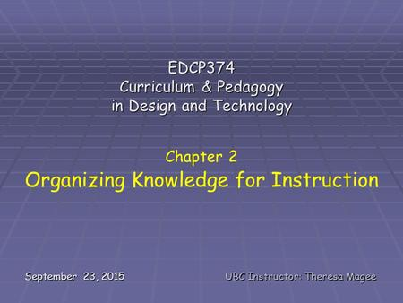 September 23, 2015UBC Instructor: Theresa Magee EDCP374 Curriculum & Pedagogy in Design and Technology Chapter 2 Organizing Knowledge for Instruction.