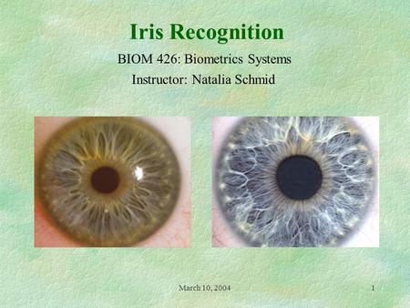 March 10, 20041 Iris Recognition Instructor: Natalia Schmid BIOM 426: Biometrics Systems.