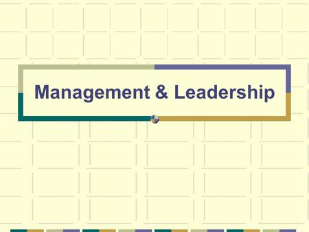 Management & Leadership. Management vs. Leadership Management The process of coordinating and integrating resources in order to effectively and efficiently.