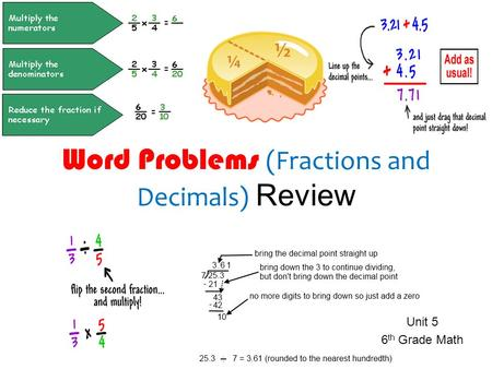 Word Problems (Fractions and Decimals) Review Unit 5 6 th Grade Math.
