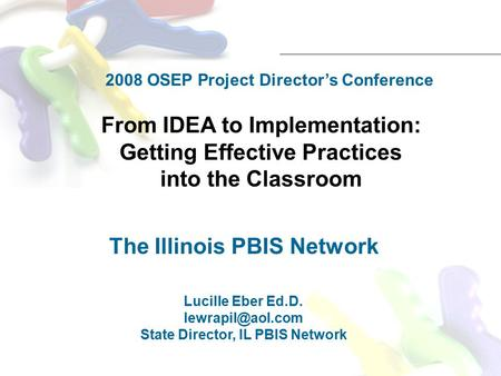 From IDEA to Implementation: Getting Effective Practices into the Classroom The Illinois PBIS Network Lucille Eber Ed.D. State Director,