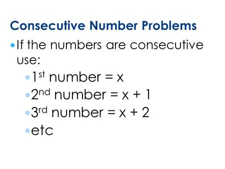 Consecutive Number Problems