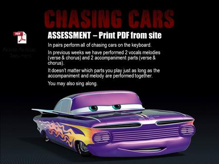 ASSESSMENT – Print PDF from site In pairs perform all of chasing cars on the keyboard. In previous weeks we have performed 2 vocals melodies (verse &