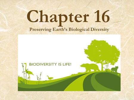 Chapter 16 Preserving Earth's Biological Diversity.