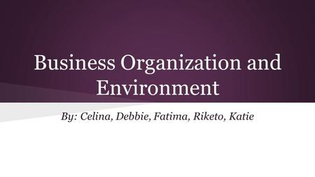 Business Organization and Environment By: Celina, Debbie, Fatima, Riketo, Katie.