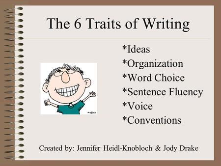 The 6 Traits of Writing *Ideas *Organization *Word Choice *Sentence Fluency *Voice *Conventions Created by: Jennifer Heidl-Knobloch & Jody Drake.