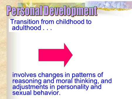 Personal Development Transition from childhood to adulthood . . .