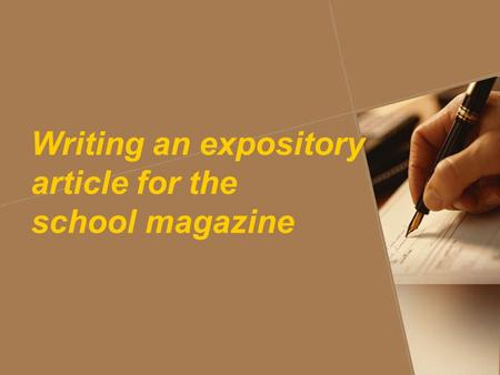 Write an article about yourself for the school magazine