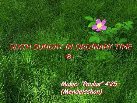 "SIXTH SUNDAY IN ORDINARY TIME -B- Music: ""Paulus"" 4'25 (Mendelsshon)"