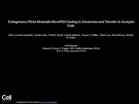 Endogenous RNAs Modulate MicroRNA Sorting to Exosomes and Transfer to Acceptor Cells Mario Leonardo Squadrito, Caroline Baer, Frédéric Burdet, Claudio.