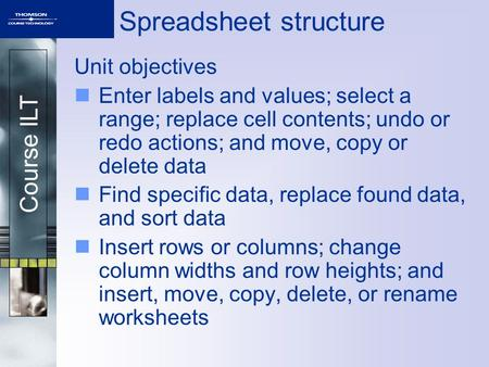 Course ILT Spreadsheet structure Unit objectives Enter labels and values; select a range; replace cell contents; undo or redo actions; and move, copy or.
