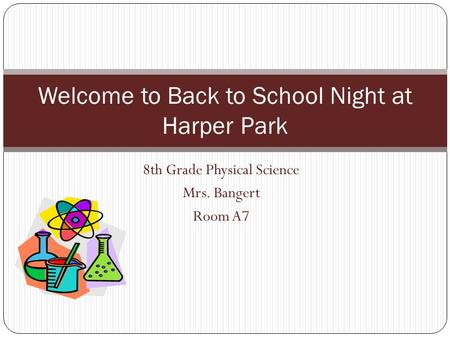 Welcome to Back to School Night at Harper Park
