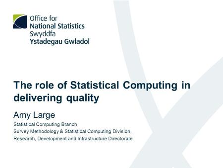 The role of Statistical Computing in delivering quality Amy Large Statistical Computing Branch Survey Methodology & Statistical Computing Division, Research,