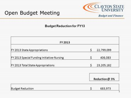 Open Budget Meeting Budget and Finance Budget Reduction for FY13 FY 2013 FY 2013 State Appropriations $ 22,799,099 FY 2013 Special Funding Initiative-Nursing.