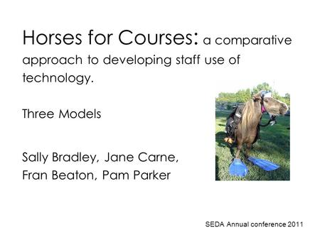 Horses for Courses : a comparative approach to developing staff use of technology. Three Models Sally Bradley, Jane Carne, Fran Beaton, Pam Parker SEDA.