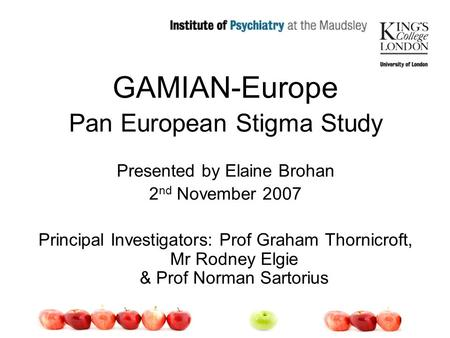 GAMIAN-Europe Pan European Stigma Study Presented by Elaine Brohan 2 nd November 2007 Principal Investigators: Prof Graham Thornicroft, Mr Rodney Elgie.
