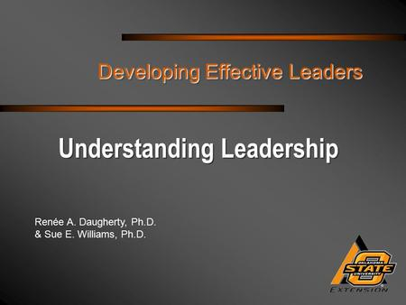 Renée A. Daugherty, Ph.D. & Sue E. Williams, Ph.D. Developing Effective Leaders Understanding Leadership.
