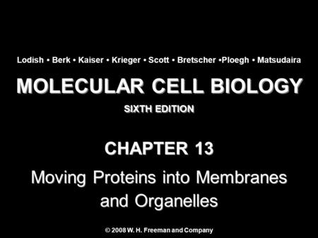 MOLECULAR CELL BIOLOGY SIXTH EDITION MOLECULAR CELL BIOLOGY SIXTH EDITION Copyright 2008 © W. H. Freeman and Company CHAPTER 13 Moving Proteins into Membranes.