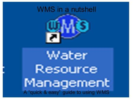 "WMS in a nutshell A ""quick & easy"" guide to using WMS."