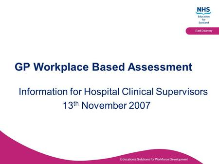 GP Workplace Based Assessment