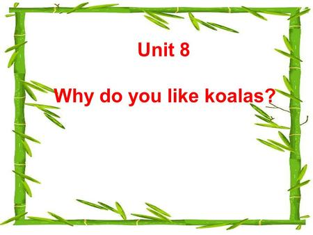Unit 8 Why do you like koalas?. Let's go to the zoo!