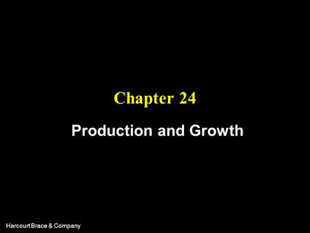 Harcourt Brace & Company Chapter 24 Production and Growth.