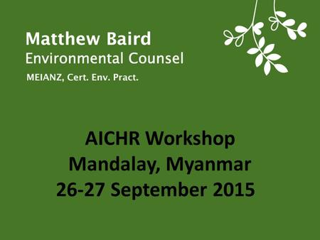 AICHR Workshop Mandalay, Myanmar September 2015
