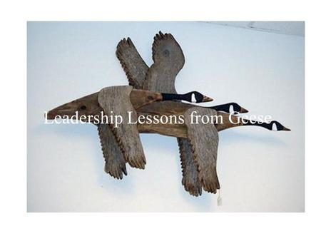 Leadership Lessons from Geese. Fact 1 As Each Goose Flaps Its Wings, It Creates an Uplift for the Birds That Follow. By Flying in a V Formation, the.