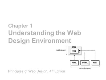 Chapter 1 Understanding the Web Design Environment Principles of Web Design, 4 th Edition.