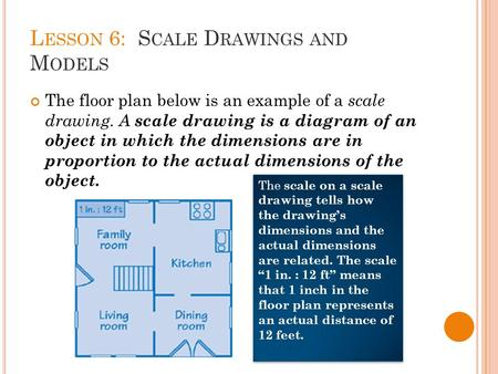 L ESSON 6: S CALE D RAWINGS AND M ODELS The floor plan below is an example of a scale drawing. A scale drawing is a diagram of an object in which the dimensions.
