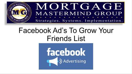 "Facebook Ad's To Grow Your Friends List. We spent a couple of days work shopping and master minding on how to effectively ""engage"" on Facebook We talked."