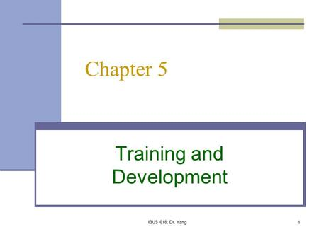 IBUS 618, Dr. Yang1 Chapter 5 Training and Development.