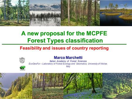 A new proposal for the MCPFE Forest Types classification Marco Marchetti Italian Academy of Forest Sciences EcoGeoFor – Laboratory of Forest Ecology and.