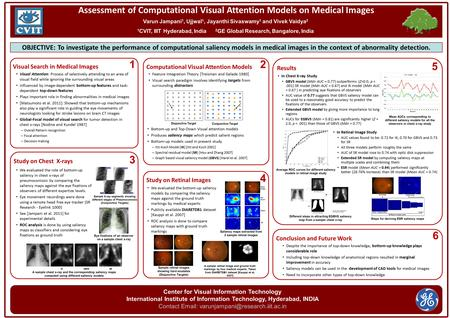 Assessment of Computational Visual Attention Models on Medical Images Varun Jampani 1, Ujjwal 1, Jayanthi Sivaswamy 1 and Vivek Vaidya 2 1 CVIT, IIIT Hyderabad,