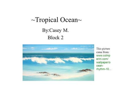 ~Tropical Ocean~ By:Casey M. Block 2 This picture came from: www.colinp erini.com/ wallpaper/o cean- rhythm-10...