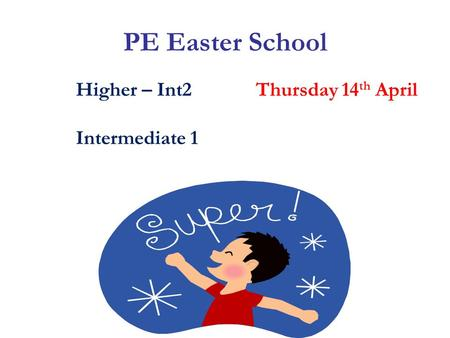 PE Easter School Higher – Int2Thursday 14 th April Intermediate 1.