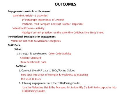 OUTCOMES Engagement results in achievement Valentine Article—2 activities: 1 st Paragraph Importance of 3 words Partners, read Compare Contrast Graphic.
