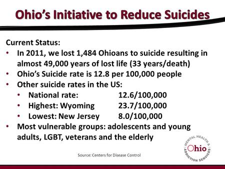 Current Status: In 2011, we lost 1,484 Ohioans to suicide resulting in almost 49,000 years of lost life (33 years/death) Ohio's Suicide rate is 12.8 per.