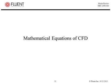 Mathematical Equations of CFD