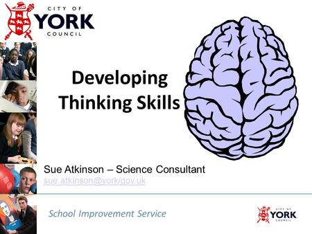 School Improvement Service Sue Atkinson – Science Consultant  Developing Thinking Skills.