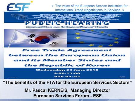 "« The voice of the European Service Industries for International Trade Negotiations in Services » ""The benefits of the FTA for the European Services Sectors"""
