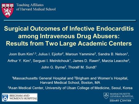 Surgical Outcomes of Infective Endocarditis among Intravenous Drug Abusers: Results from Two Large Academic Centers Joon Bum Kim 1,3, Julius I. Ejiofor.