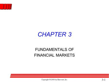 3-1 CHAPTER 3 FUNDAMENTALS OF FINANCIAL MARKETS. 3-2 Examples of Capital Market Claims l Corporate Stock l Bonds l Mortgages.
