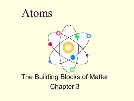 Atoms The Building Blocks of Matter Chapter 3 OBJECTIVES The Atom: Philosophy to Science 3.1 Explain the law of conservation of mass, the law of definite.