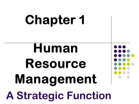 Chapter 1 Human Resource Management