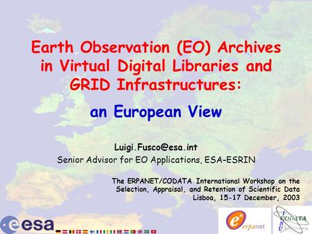 Earth Observation (EO) Archives in Virtual Digital Libraries and GRID Infrastructures: an European View Senior Advisor for EO Applications,