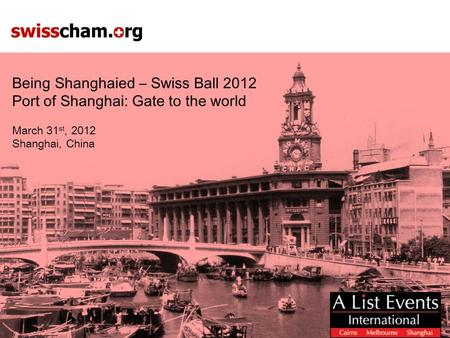Being Shanghaied – Swiss Ball 2012 Port of Shanghai: Gate to the world March 31 st, 2012 Shanghai, China.
