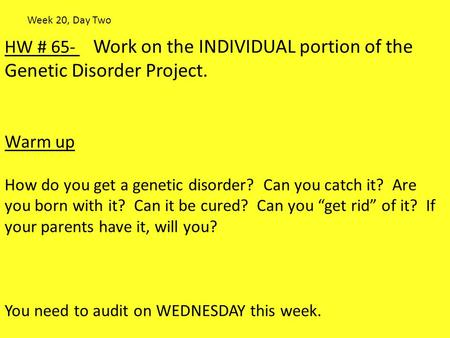 HW # 65- Work on the INDIVIDUAL portion of the Genetic Disorder Project. Warm up How do you get a genetic disorder? Can you catch it? Are you born with.