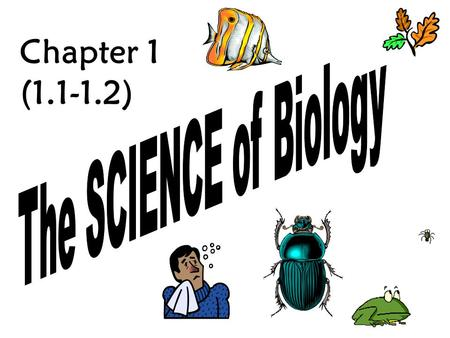 "Chapter 1 (1.1-1.2) Before we delve into the world of BIOLOGY, we need to examine the question: What is a ""FACT?"" Something that can be proved or verified."